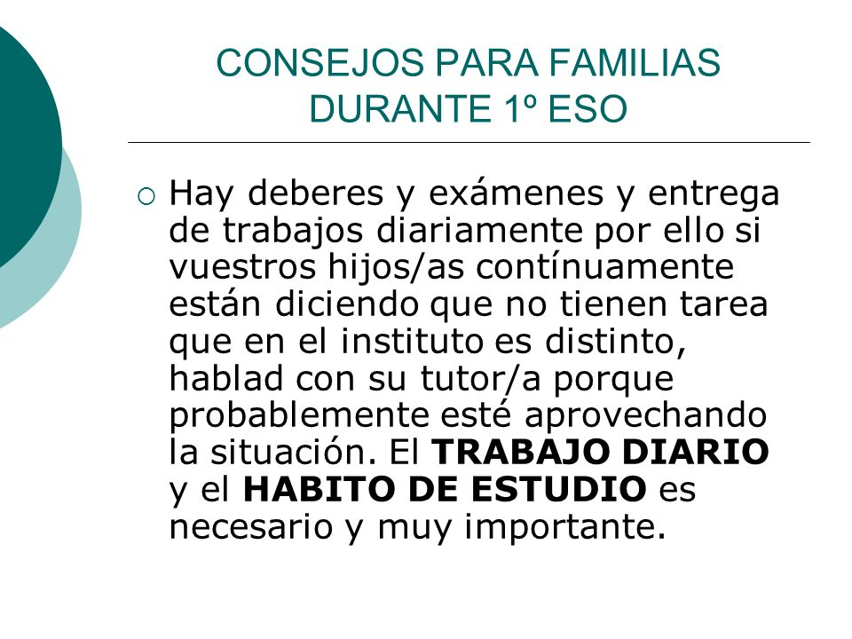 CONSEJOS PARA FAMILIAS DURANTE 1º ESO