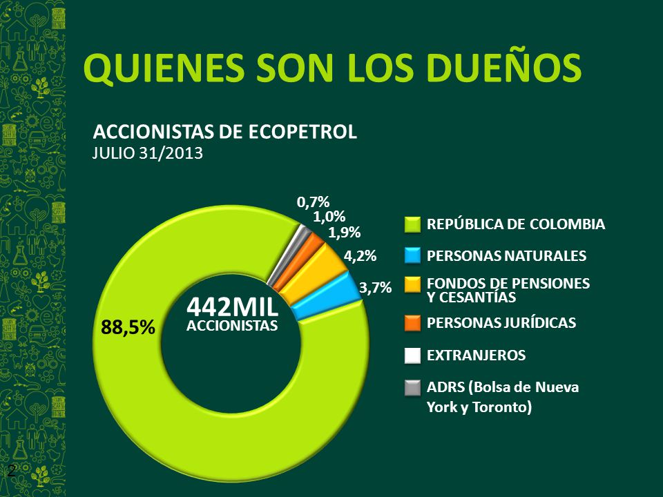 QUIENES SON LOS DUEÑOS 442MIL ACCIONISTAS DE ECOPETROL JULIO 31/2013