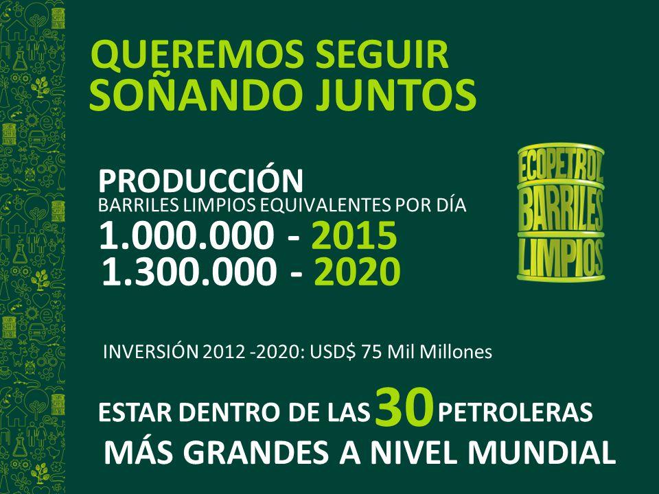 30 SOÑANDO JUNTOS QUEREMOS SEGUIR 1.000.000 - 2015 1.300.000 - 2020
