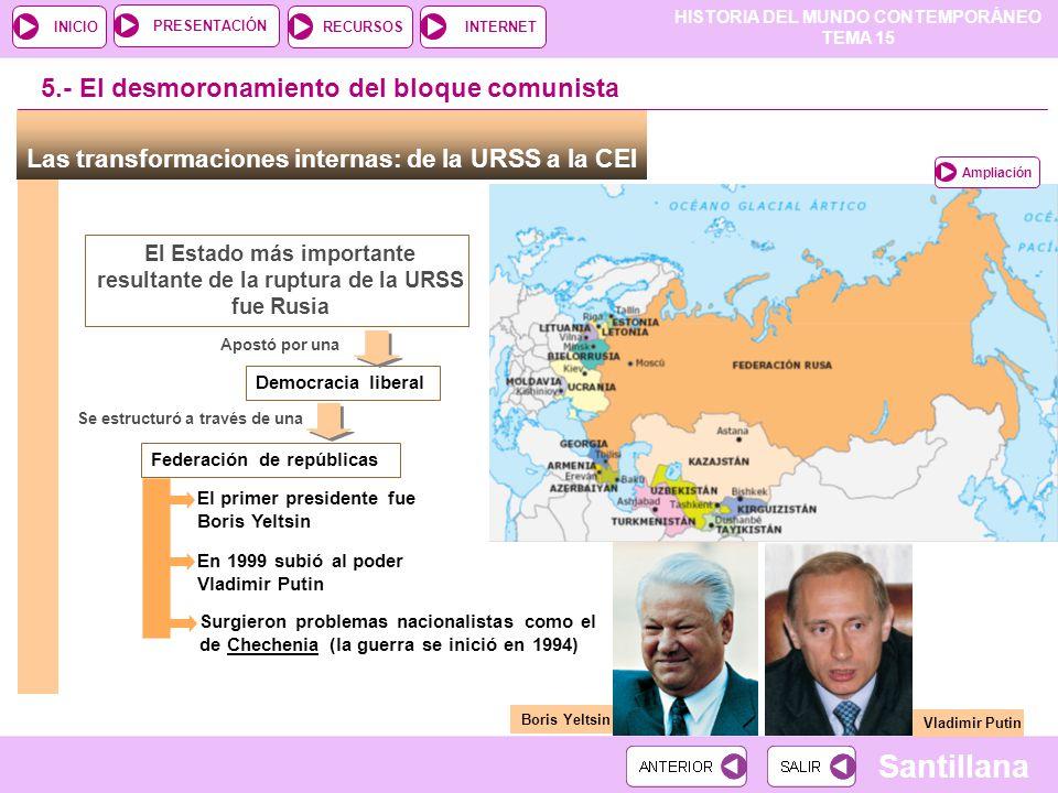 El Estado más importante resultante de la ruptura de la URSS fue Rusia