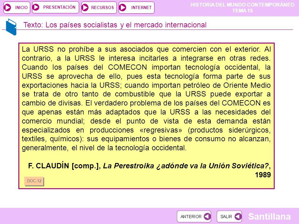 Texto: Los países socialistas y el mercado internacional