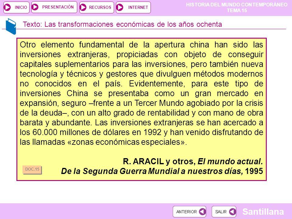 R. ARACIL y otros, El mundo actual.