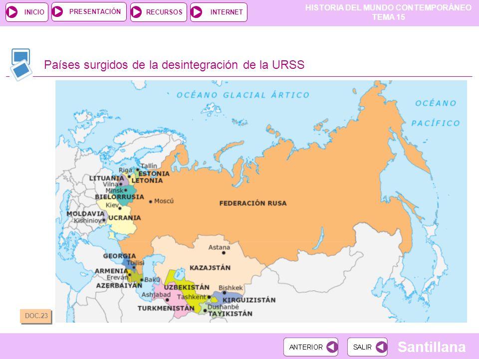 Países surgidos de la desintegración de la URSS
