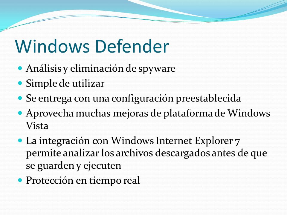 Windows Defender Análisis y eliminación de spyware Simple de utilizar