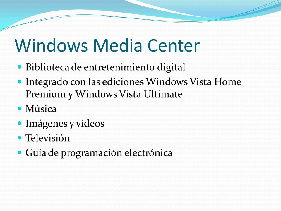 Windows Media Center Biblioteca de entretenimiento digital