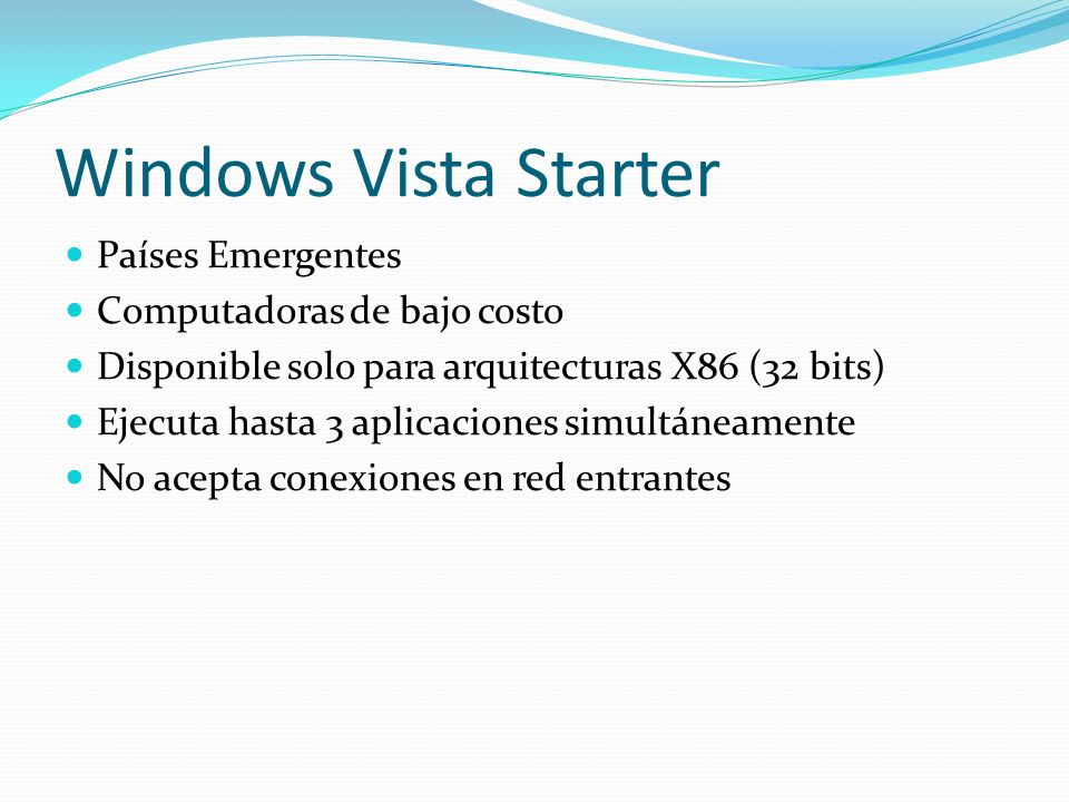 Windows Vista Starter Países Emergentes Computadoras de bajo costo