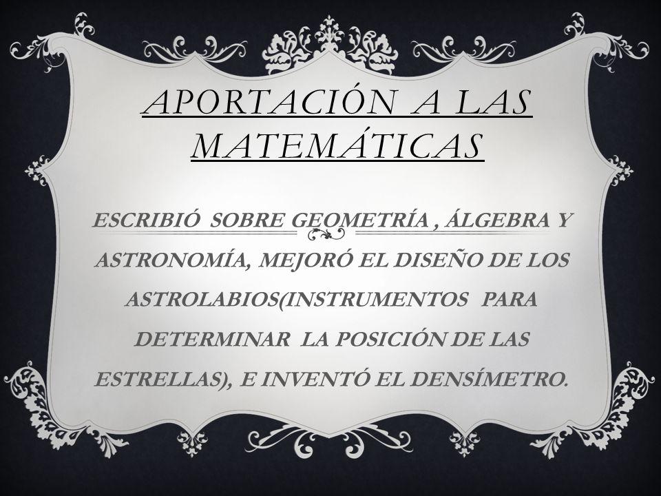APORTACIÓN A LAS MATEMÁTICAS