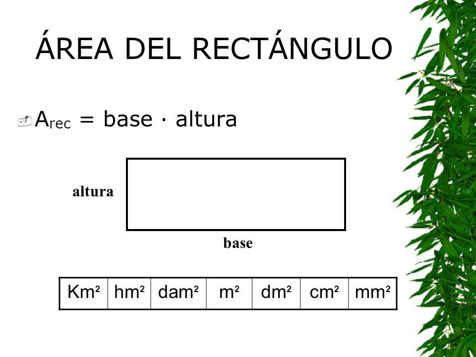 ÁREA DEL RECTÁNGULO Arec = base · altura Km2 hm2 dam2 m2 dm2 cm2 mm2