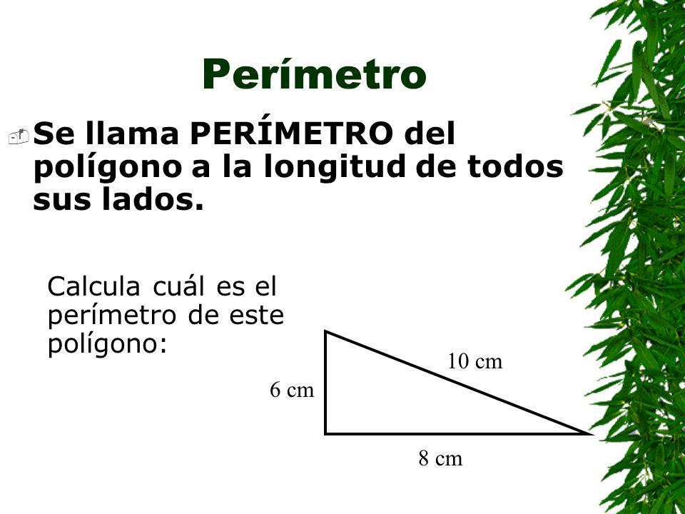Perímetro Se llama PERÍMETRO del polígono a la longitud de todos sus lados. Calcula cuál es el perímetro de este polígono: