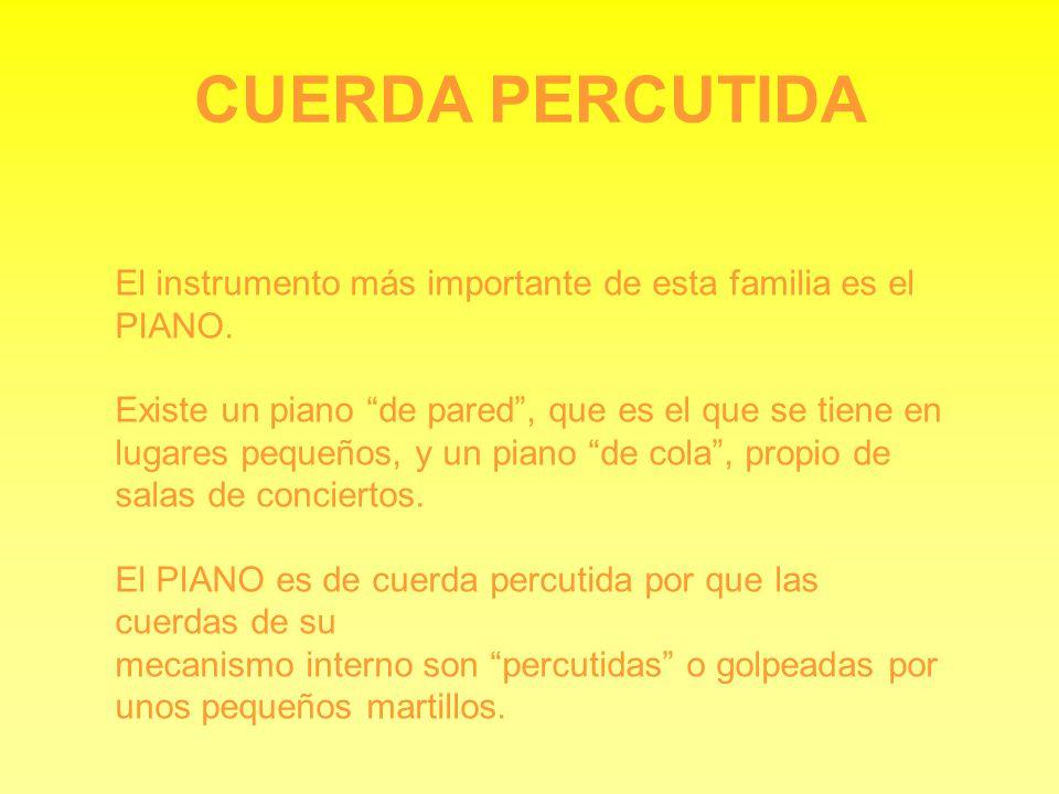 CUERDA PERCUTIDA El instrumento más importante de esta familia es el PIANO.