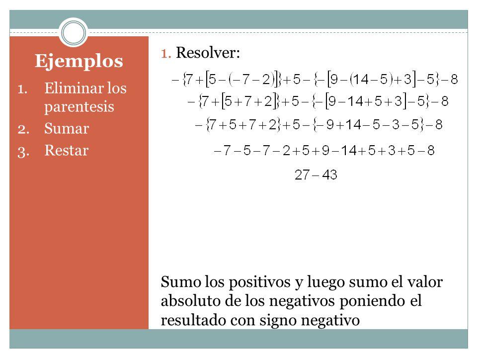 1. Resolver: Sumo los positivos y luego sumo el valor absoluto de los negativos poniendo el resultado con signo negativo.