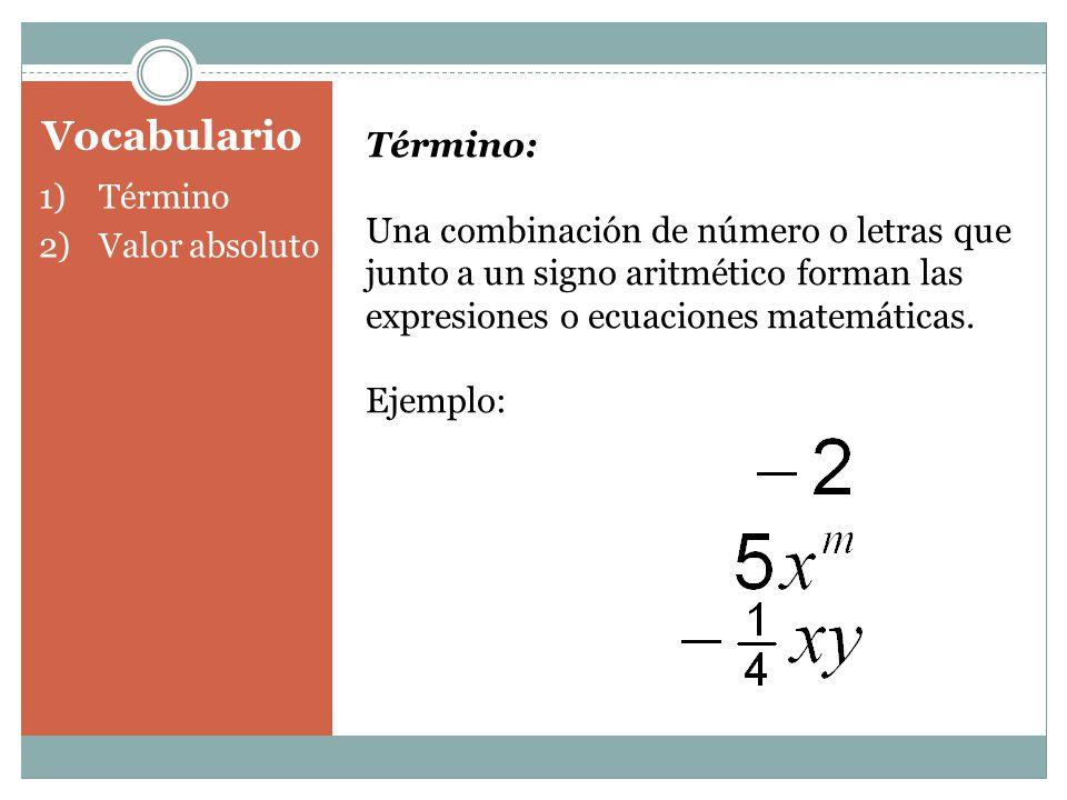 Término: Una combinación de número o letras que junto a un signo aritmético forman las expresiones o ecuaciones matemáticas.