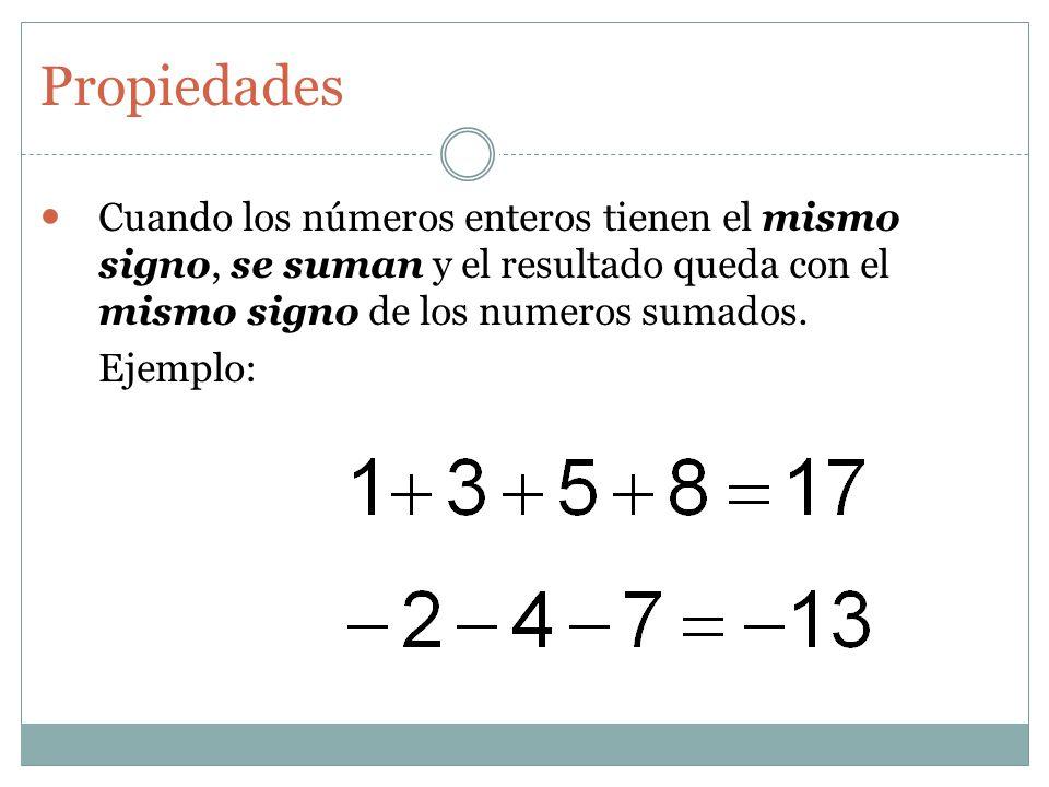 Cuando los números enteros tienen el mismo signo, se suman y el resultado queda con el mismo signo de los numeros sumados.