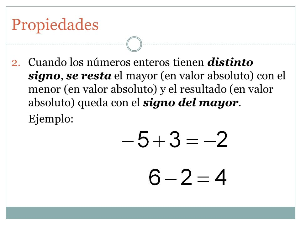Cuando los números enteros tienen distinto signo, se resta el mayor (en valor absoluto) con el menor (en valor absoluto) y el resultado (en valor absoluto) queda con el signo del mayor.