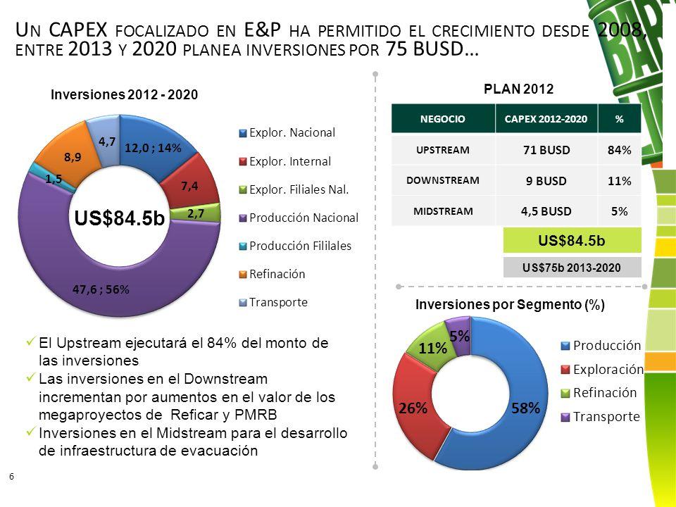 Inversiones por Segmento (%)