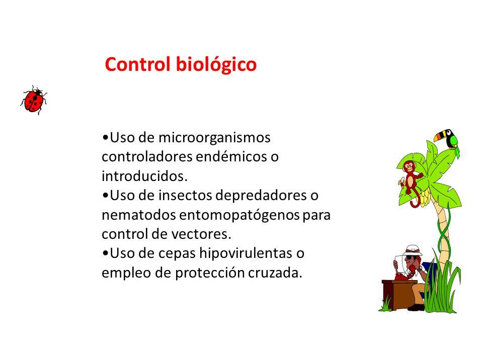 Control biológico Uso de microorganismos controladores endémicos o introducidos.