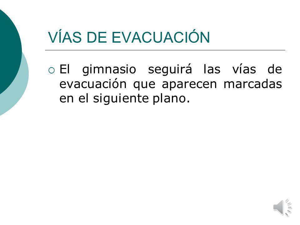 VÍAS DE EVACUACIÓN El gimnasio seguirá las vías de evacuación que aparecen marcadas en el siguiente plano.