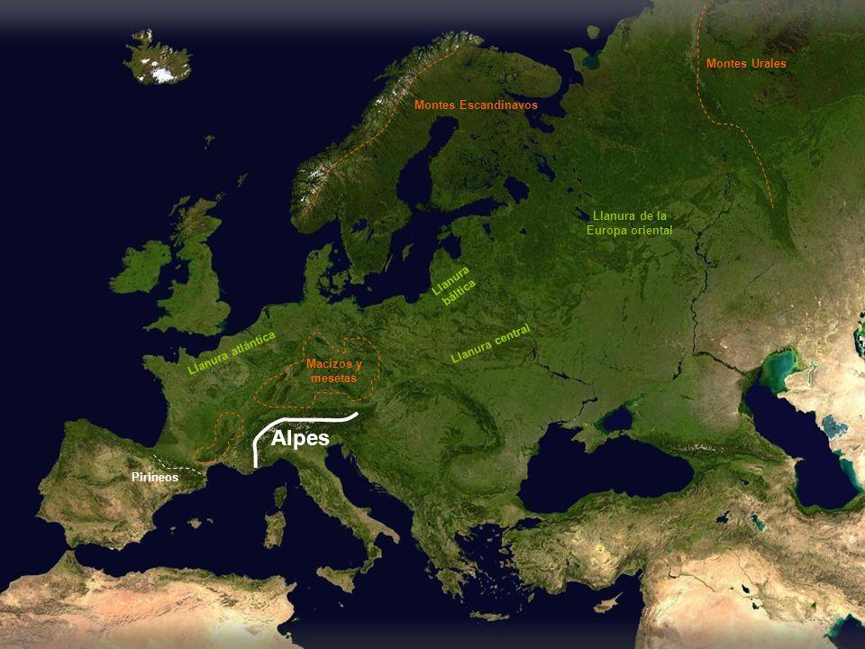 Alpes Montes Urales Montes Escandinavos Llanura de la Europa oriental