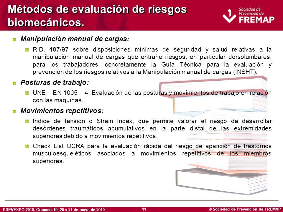 Métodos de evaluación de riesgos biomecánicos.