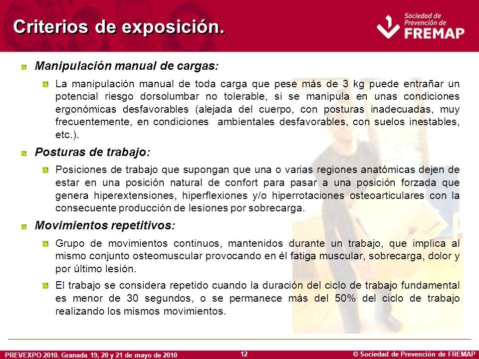 Criterios de exposición.