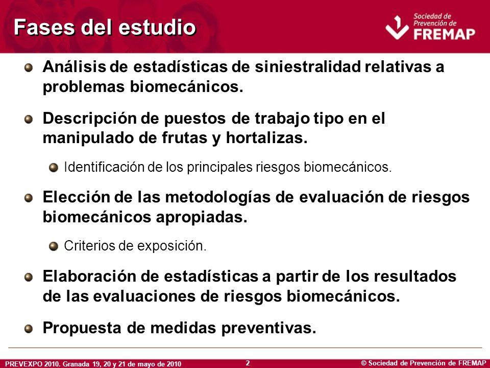 Fases del estudio Análisis de estadísticas de siniestralidad relativas a problemas biomecánicos.