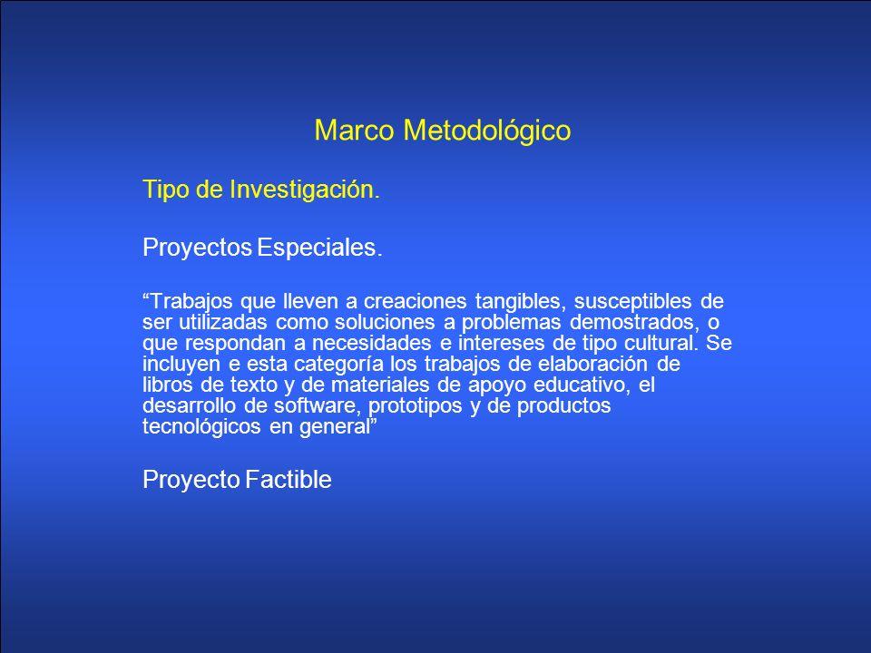 Marco Metodológico Tipo de Investigación. Proyectos Especiales.