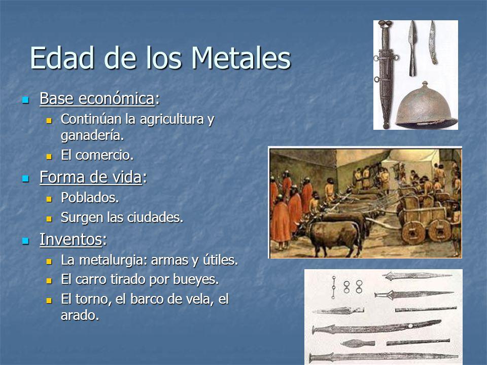 Edad de los Metales Base económica: Forma de vida: Inventos: