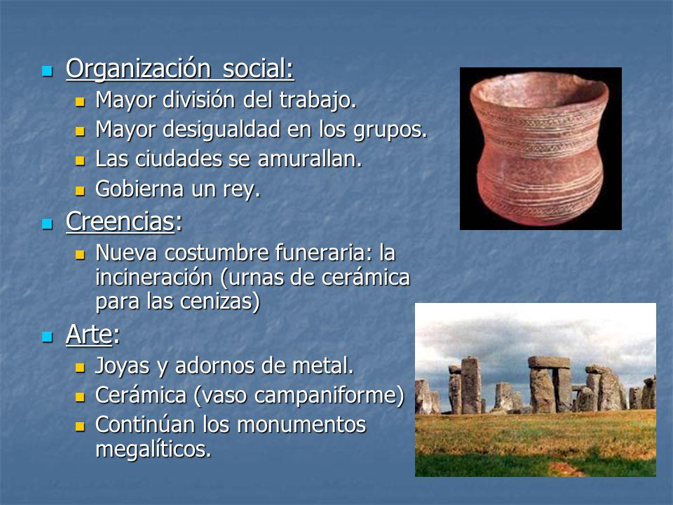 Organización social: Creencias: Arte: Mayor división del trabajo.