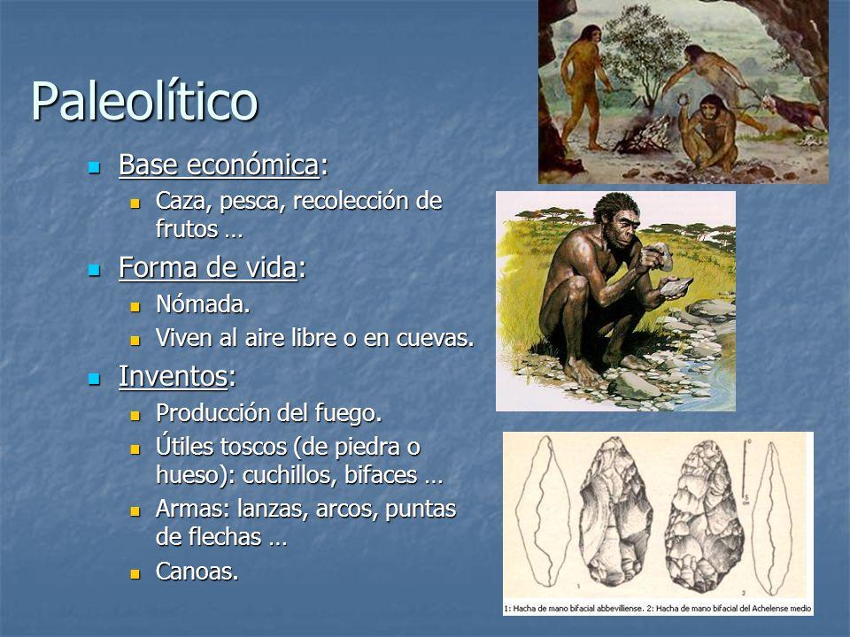 Paleolítico Base económica: Forma de vida: Inventos: