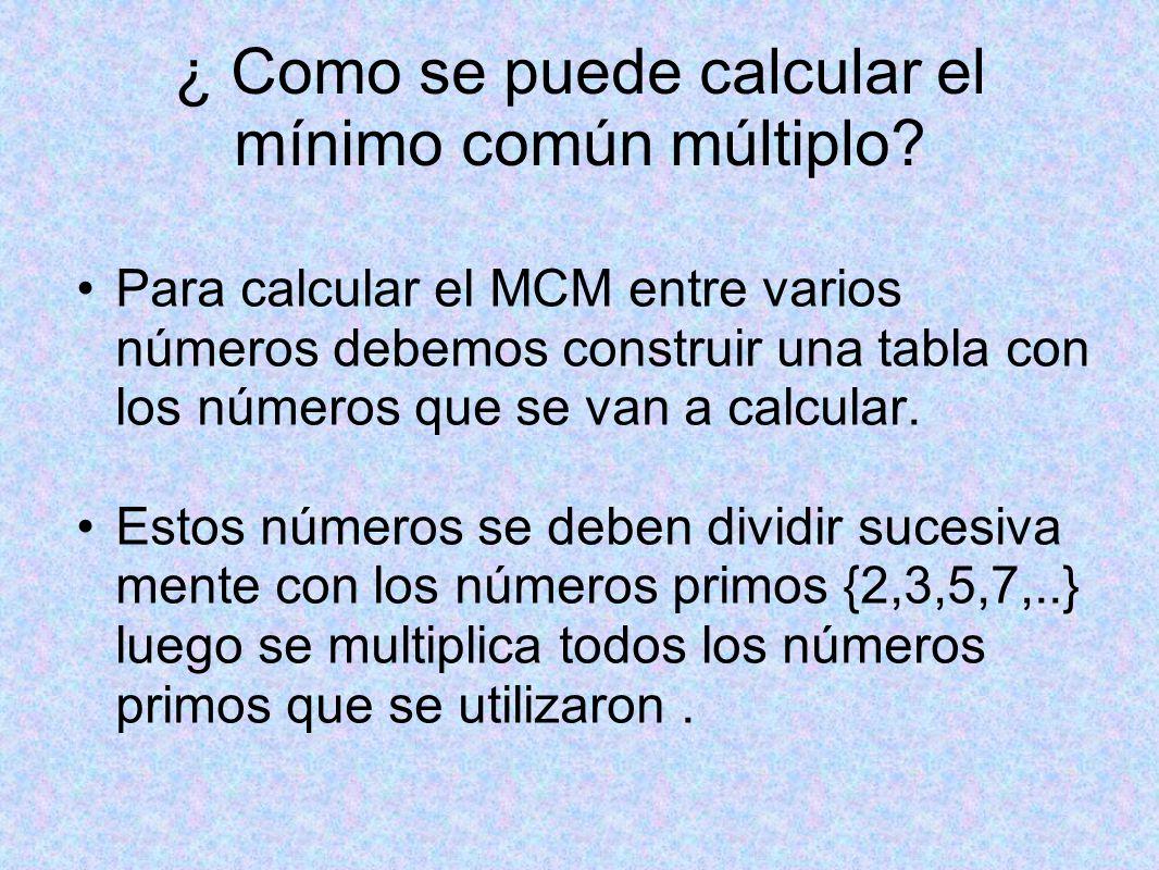 ¿ Como se puede calcular el mínimo común múltiplo