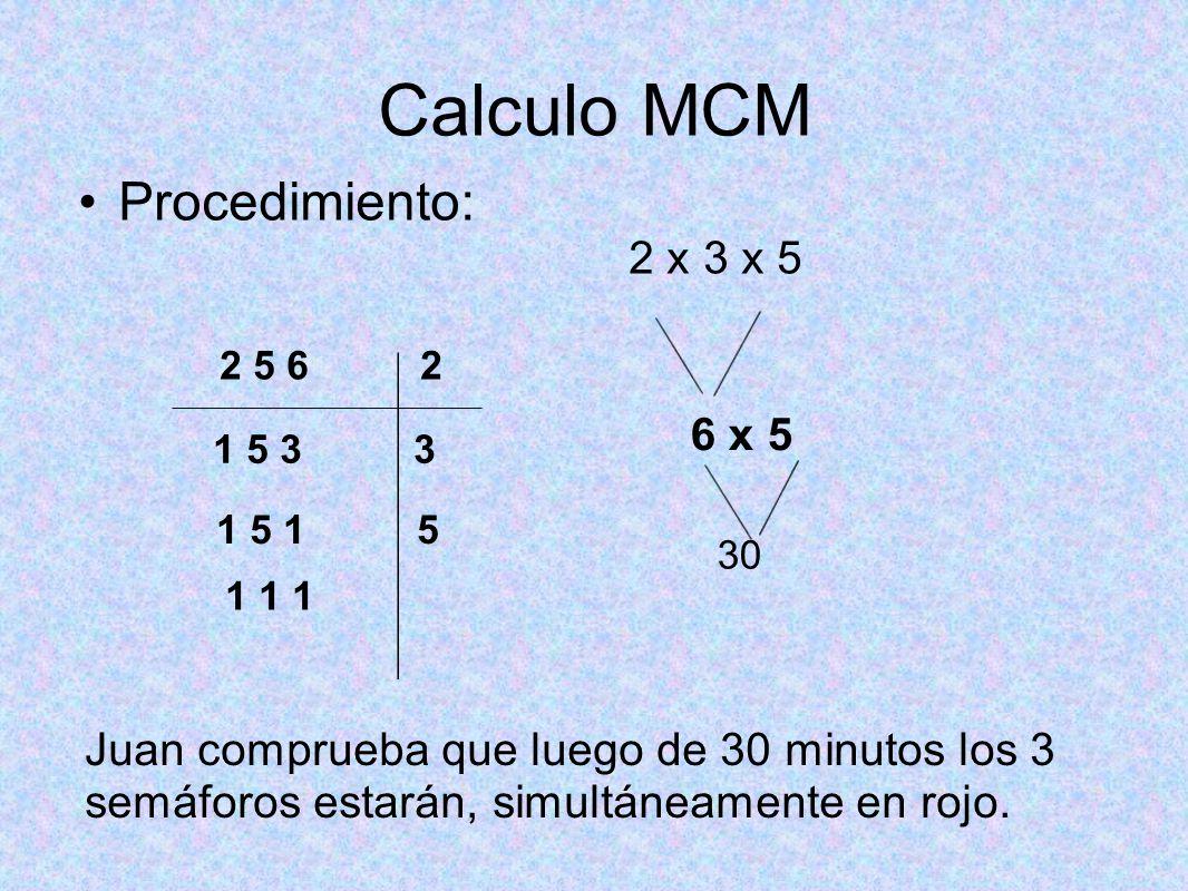 Calculo MCM Procedimiento: 2 x 3 x 5 6 x 5