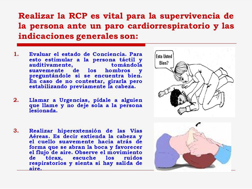 Realizar la RCP es vital para la supervivencia de la persona ante un paro cardiorrespiratorio y las indicaciones generales son: