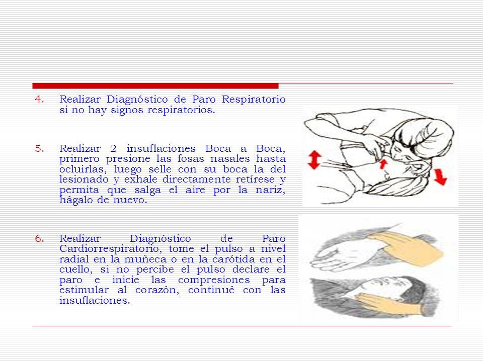 Realizar Diagnóstico de Paro Respiratorio si no hay signos respiratorios.