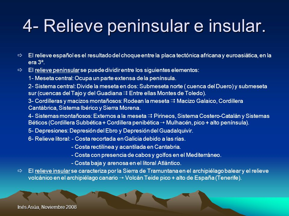 4- Relieve peninsular e insular.