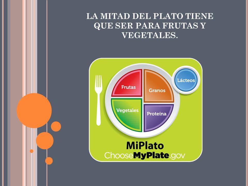 LA MITAD DEL PLATO TIENE QUE SER PARA FRUTAS Y VEGETALES.