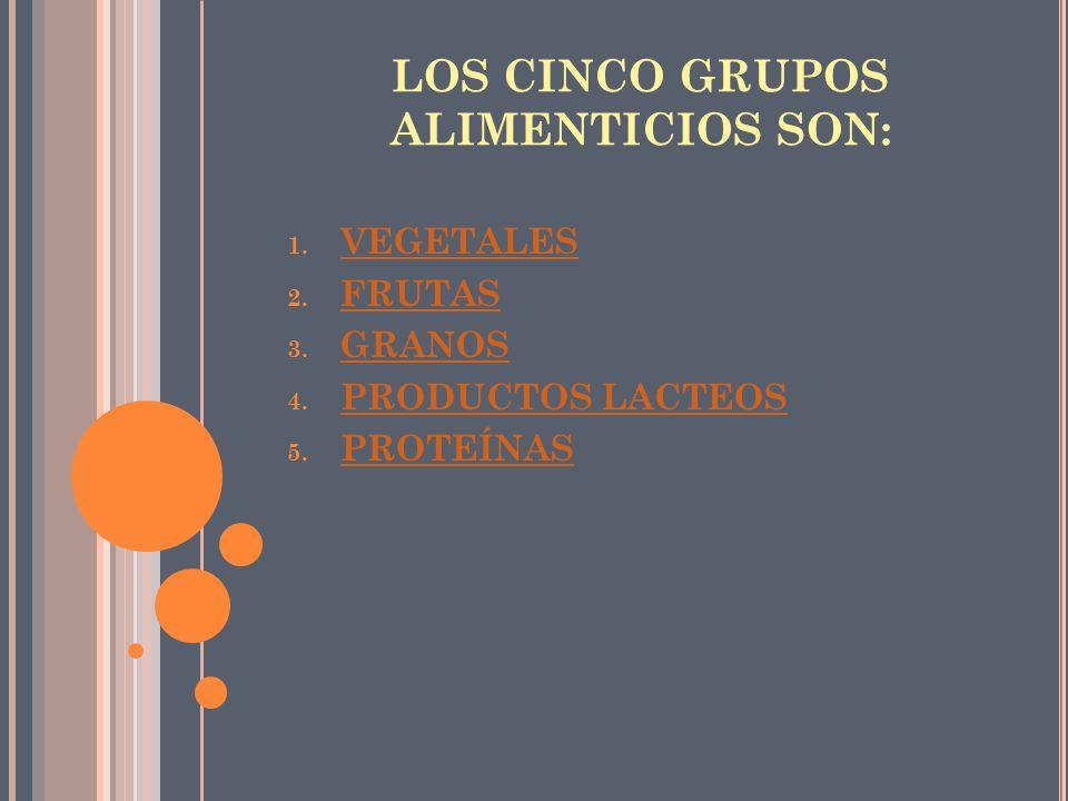 LOS CINCO GRUPOS ALIMENTICIOS SON: