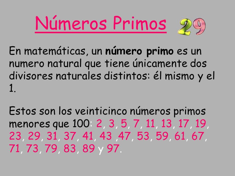 Números Primos En matemáticas, un número primo es un numero natural que tiene únicamente dos divisores naturales distintos: él mismo y el 1.