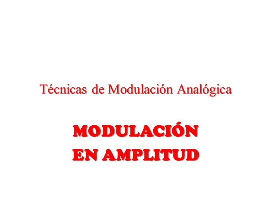 Técnicas de Modulación Analógica MODULACIÓN EN AMPLITUD