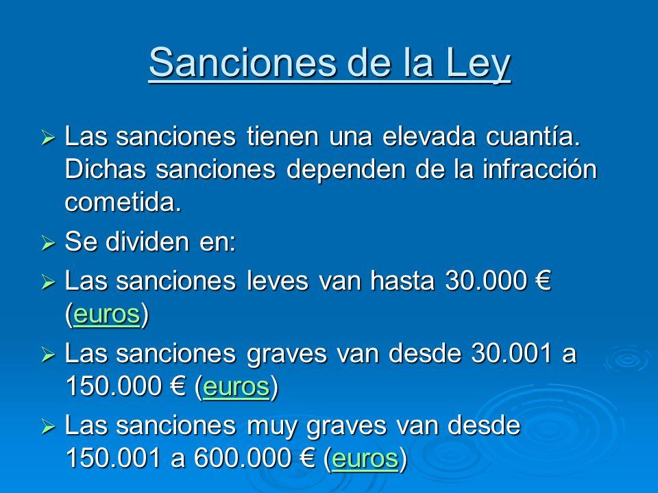 Sanciones de la Ley Las sanciones tienen una elevada cuantía. Dichas sanciones dependen de la infracción cometida.