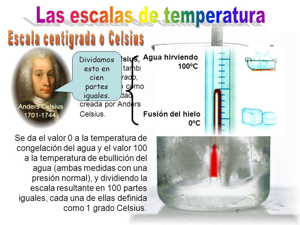 Las escalas de temperatura Escala centígrada o Celsius