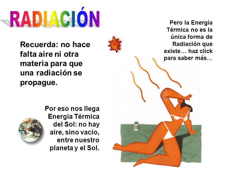 RADIACIÓN Pero la Energía Térmica no es la única forma de Radiación que existe… haz click para saber más…