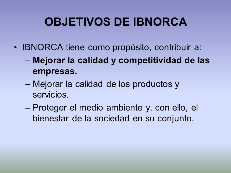 OBJETIVOS DE IBNORCA IBNORCA tiene como propósito, contribuir a: