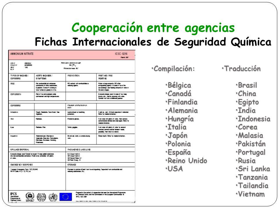 Cooperación entre agencias Fichas Internacionales de Seguridad Química