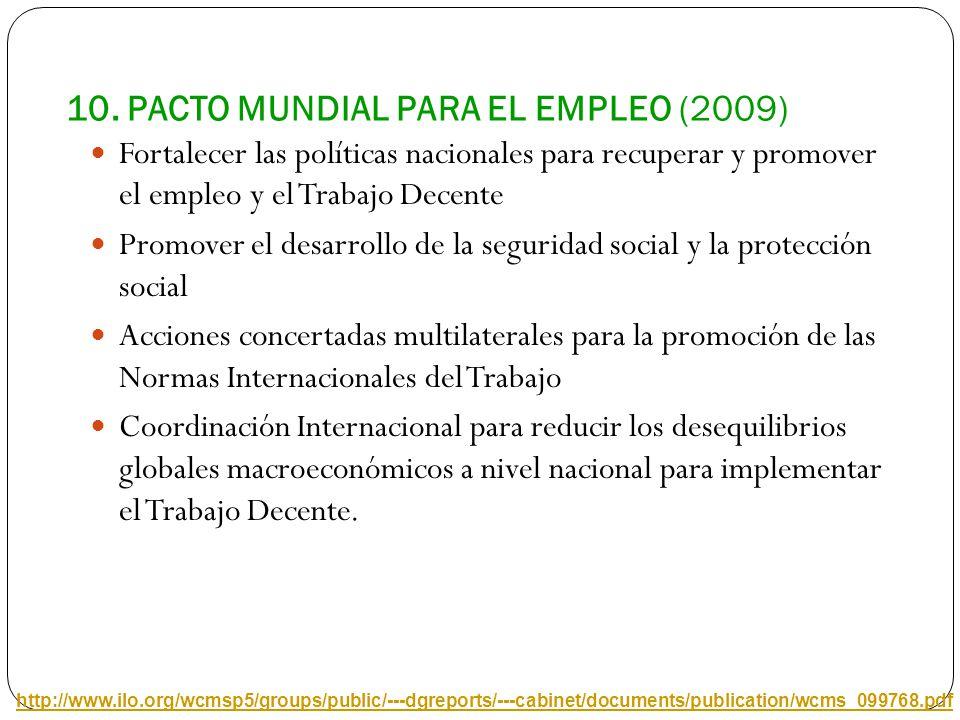 10. PACTO MUNDIAL PARA EL EMPLEO (2009)