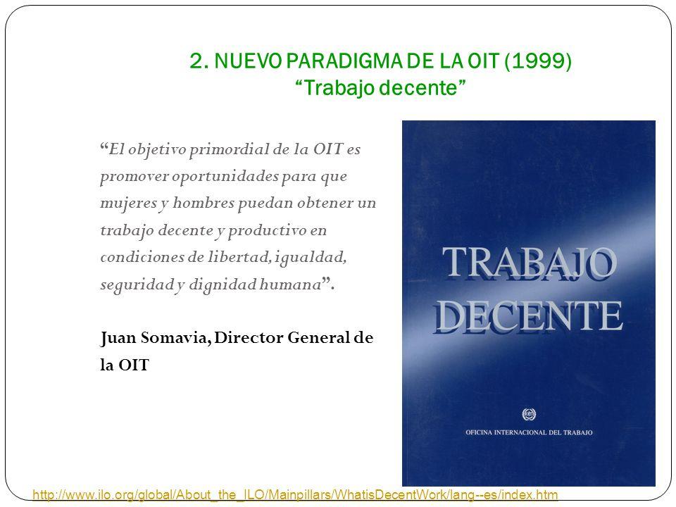 2. NUEVO PARADIGMA DE LA OIT (1999) Trabajo decente