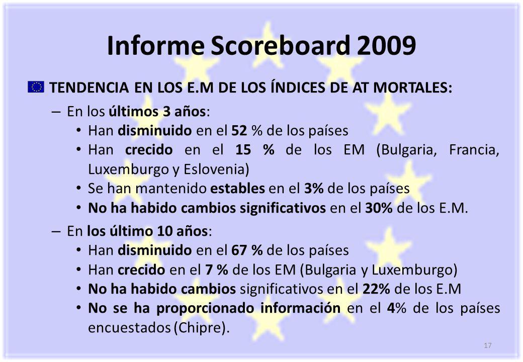 Informe Scoreboard 2009 TENDENCIA EN LOS E.M DE LOS ÍNDICES DE AT MORTALES: En los últimos 3 años: