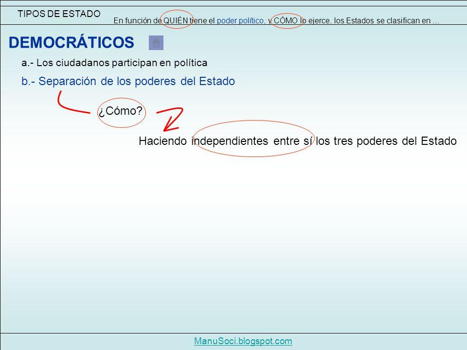 DEMOCRÁTICOS b.- Separación de los poderes del Estado ¿Cómo