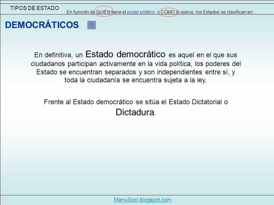 TIPOS DE ESTADO En función de QUIÉN tiene el poder político, y CÓMO lo ejerce, los Estados se clasifican en …