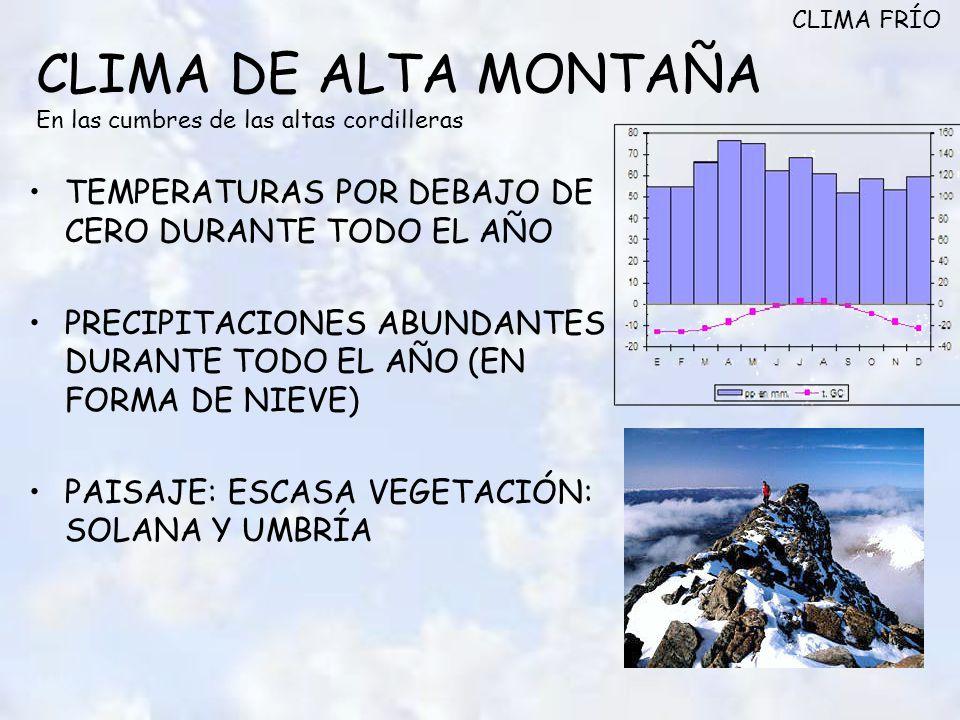 CLIMA DE ALTA MONTAÑA En las cumbres de las altas cordilleras