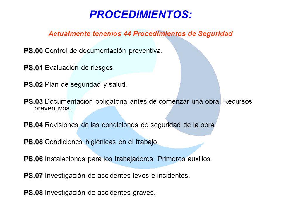 Actualmente tenemos 44 Procedimientos de Seguridad